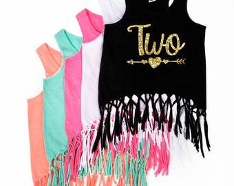 Birthday Tank Top - ANY NUMBER - Birthday Fringe Tank Top - Birthday Girl - Glitter Birthday - NUMBER - Two - Three - Four - Five - Six