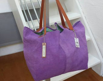 Purple /anses linen tote bag leather
