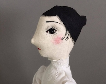 Art Doll OOAK - Evelyn - Collectible handmade art doll for display