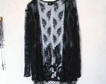 Vintage Black Floral Lace Kimono Fringing Fringed Top boho grunge