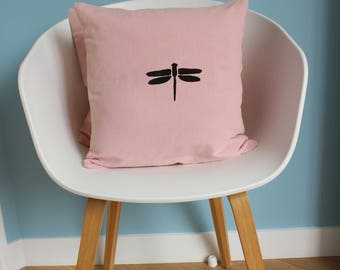Pink Dragonfly pillow cover black for an original home decor - size 40 x 40