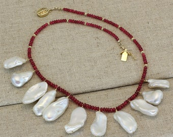 BN212- Burma Red Spinel and Fresh Water Biwa Pearl necklace