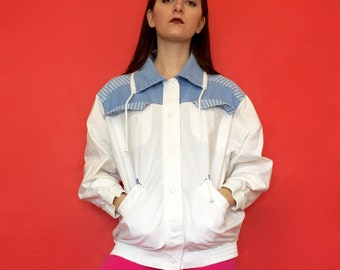 Vintage 90s 80s White and Blue Collared Button Up Windbreaker Jacket