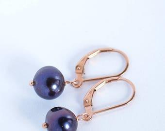 Black Freshwater Pearl Earrings, Tahitian Look Drop June Birthstone Leverback Earrings: 14k Gold Filled, Rose Gold Filled, Sterling Silver