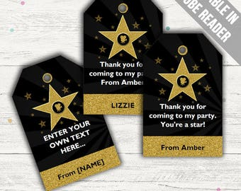 Hollywood Party Favor Tags (Movie Party Thank You Tags). Printable PDF (EDITABLE). Instant Download.