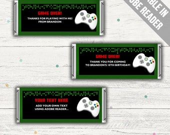Video Game Candy Bar Wrappers (Gamer Party Favors). Editable. Instant download.
