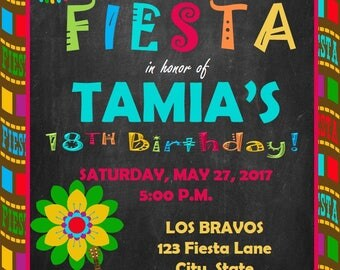5x7 Printable Fiesta Birthday Party Invitation- Any Occasion