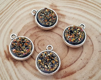 4 Pot O' Gold Resin Druzy Double Sided Cabochon Charms | 12 mm  Ready to Use Charms