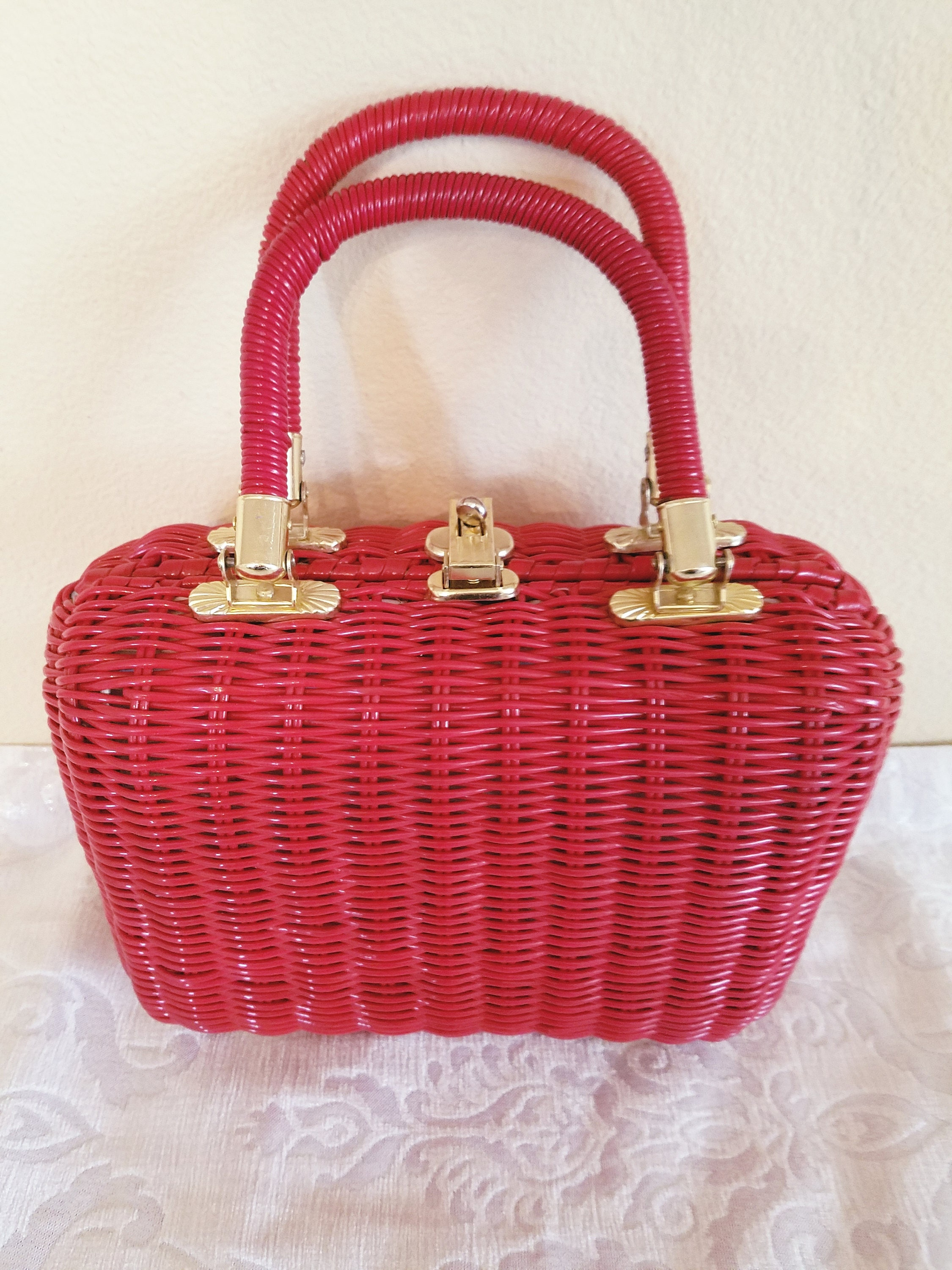 Vintage Red Wicker Handbag Vintage Babette Handbag Summer
