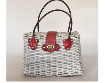 Vintage 50s Woven Wicker Handbag Basket Bag Pin Up Girl Rockabilly Tiki Retro Mid Century 1940s 40s 1950s 1960s 60s Picnic Beach Tote Purse