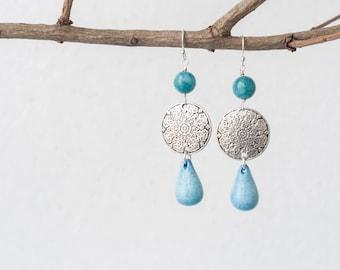 Blue stone earrings, Blue statement earrings, Blue drop earrings, Mandala earrings, Ocean blue earrings, Silver disk earrings