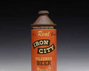 """Porcelain Cone-Top Bottle """"Iron City"""""""