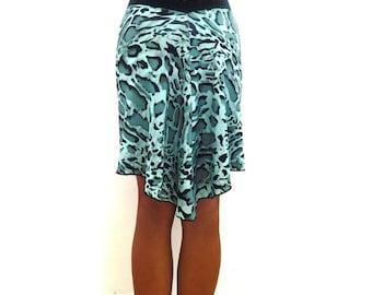 Green Leopard Fluted Skirt