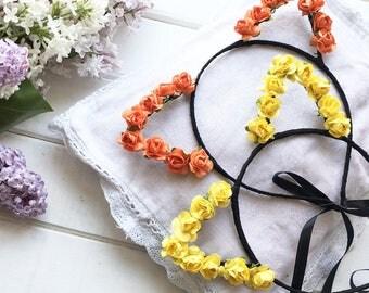 Flower cat ears, Floral cat ears, Cat ears, Roses headband, Flower crown, Floral headpiece, Cat Headband, Kitty, Music Festival, Folk Fest