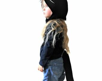 Child's Cat Costume, Black Cat Hood AND Tail, Kid's Halloween Costume, Black Cat Outfit, Black Cat Ears, Toddler Gift, Kid's Birthday Gift