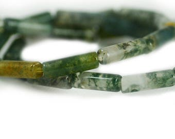 Moss Agate Rounded Tubes Gemstone Green Earthy Clear Stone Beads 13x4mm