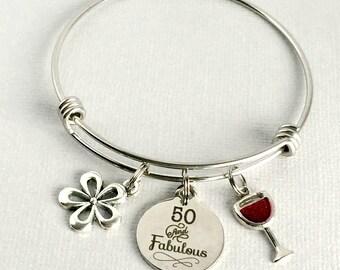 50th Birthday Charm Bangle, 50 and Fabulous Bracelet, 50th Birthday Gift, Friend Birthday Gift, 50th Birthday Jewelry, BDY001