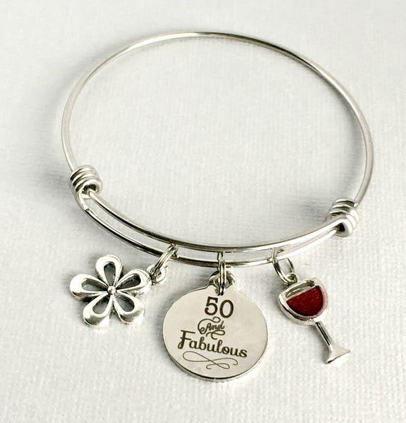 50th Birthday Charm Bangle 50 And Fabulous Bracelet 50th