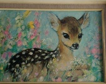 A rare Vintage Framed Print, original, deer fawn pastels 1950s