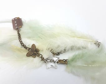 Festival Fairy Feather Hair Extension Clip with Star and Butterfly Charms - 12 inch