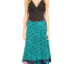 Hand Printed Crepe Silk Wrap Skirt Japanese Inspired Art, Present for her, Skirt, Silk Skirt, Wrap Skirt, Skirt for her, Reversible Skirt