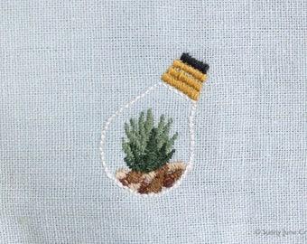 Machine embroidered pattern design terrarium - instant download