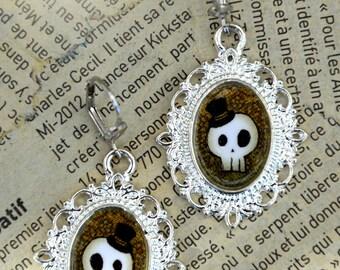 """Silver medallions """"Skeleton Gentleman"""" earrings"""
