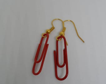 Red clips earrings