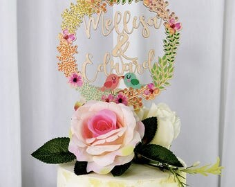 Customized Wedding Cake Topper, Cake Topper Made of Wood and Printed with Colorful Floral Wreath, Couples First Names Cake Topper VU002