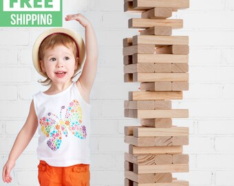 Giant Tower Game with 2-in-1 Storage Crate / Game Table   Free Shipping   Wedding Guest Book Alternative   Jumbo Lawn Games   XL Yard Games