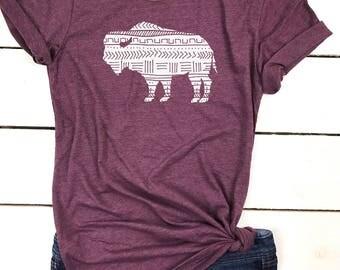 Bison t-shirt, Womens Bison shirt, bison shirt, buffalo shirt, Aztec Bison shirt, women's t-shirt, bohemian t-shirt, boho, boho womens shirt