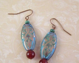 Turquoise Earrings, Copper Patina Earrings, Red Dangle Earrings, Gypsy Boho Bohemian Earrings, Birthday Gift for Wife, Daughter, Mom, Sister
