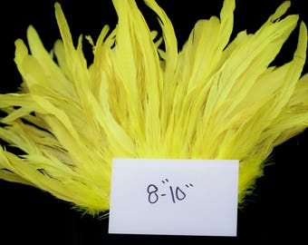 "Bright Yellow 8"" - 10"" strung coque rooster tail feathers"