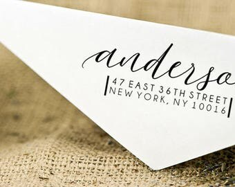 Custom Return Address Stamp, Modern Calligraphy stamp, Custom wedding address stamp, Self-Inking Personalised Stamp