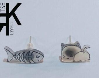 Kitten and Fish Bone Shrink Plastic Earrings