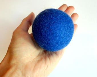 Cat toy big jumbo  ball  - Blue, felted wool, Natural, silent, animalove