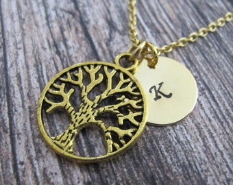 Gold Tree Life necklace-Gold initial necklace-Gold dainty necklace-For Her-Best Friend Gift-Tree of Life necklace-Gold Tree Birthday Gift