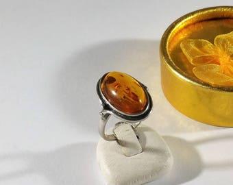 18.2 mm ring 925 Silver amber vintage SR1056