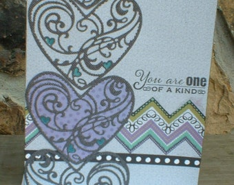 Gray and Lavendar Heart Thinking of You Card