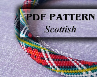 PDF Pattern for beaded crochet necklace - Jewelry patterns - Scottish pattern - Scottish necklace