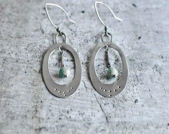 Teal Sterling Silver Earrings | Silver Earrings | Everyday Earrings | Oval Silver Earrings | Bohemian Earrings | Trendy Design