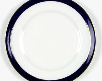 Mid-century (c.1950s) Alfred Meakin Bleu de Roi ironstone bread-and-butter | tea plate. Cobalt band, 2 bands of gold. VITRO Hotelware