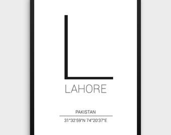 Lahore Printable Poster | Lahore Poster, Lahore Coordinates Print, Coordinates City Poster,Minimal Chicago Print, Instant Download