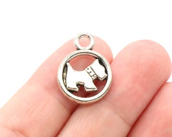 6 Pcs Dog Charms Puppy Pendants Antique Silver Tone 2 Sided 15x20mm - YD1828