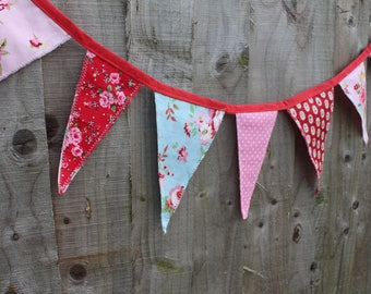 BUNTING | Red, Pink and Blue Floral / Shabby Chic  | Interior / Nursery | Exterior / Summer Garden Party Décor