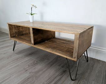 "Retro Pallet Coffee Table ""TURVAS"" in Light Oak & with Vintage Hairpin Legs"