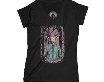 Deer t-shirt hipster t-shirt animal t-shirt nature t- shirt forest t-shirt vintage t-shirt suspender t-shirt    AP64