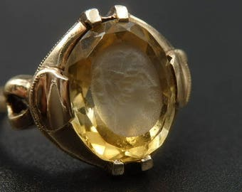 Antique, Art Nouveau citrine hand carved, intaglio, cameo, yellow gold size 6.5