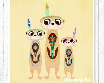 Meerkats Print Meerkats Nursery Art Meerkat Decor Tribal Meerkat Wall Art Room Decor Cute Meerkats Art Children Decor Baby Shower Gift