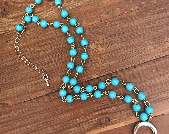Turquoise Necklace Bohemian Jewelry Gold Crescent Moon Choker Necklace Valentine Gift Double Horn Turquoise Rosary Statement Boho Festival